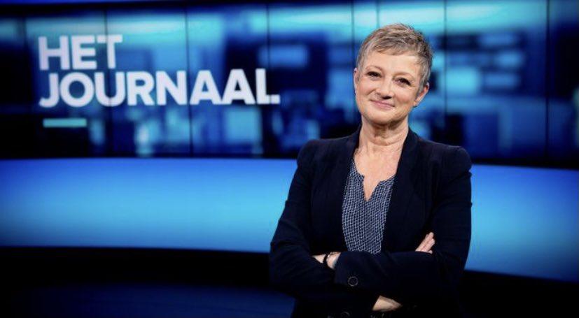 Martine Tanghe in de studio van Het Journaal